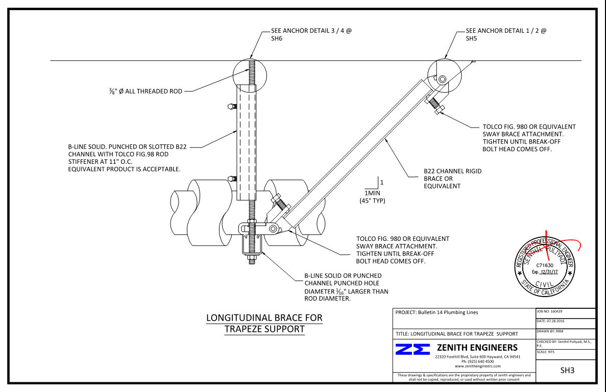 Drawing Lines In Mathcad : Seismic anchorage line bracing services zenith engineers