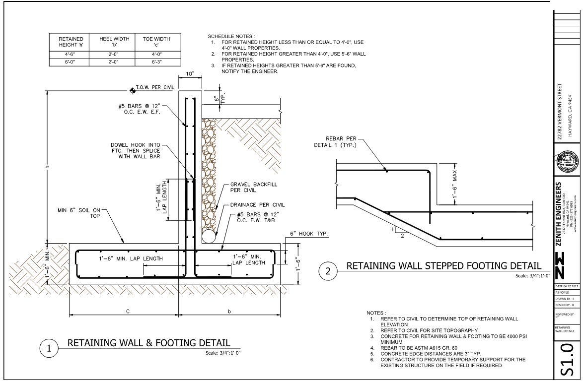 Retaining Wall Design Services Zenith Engineers
