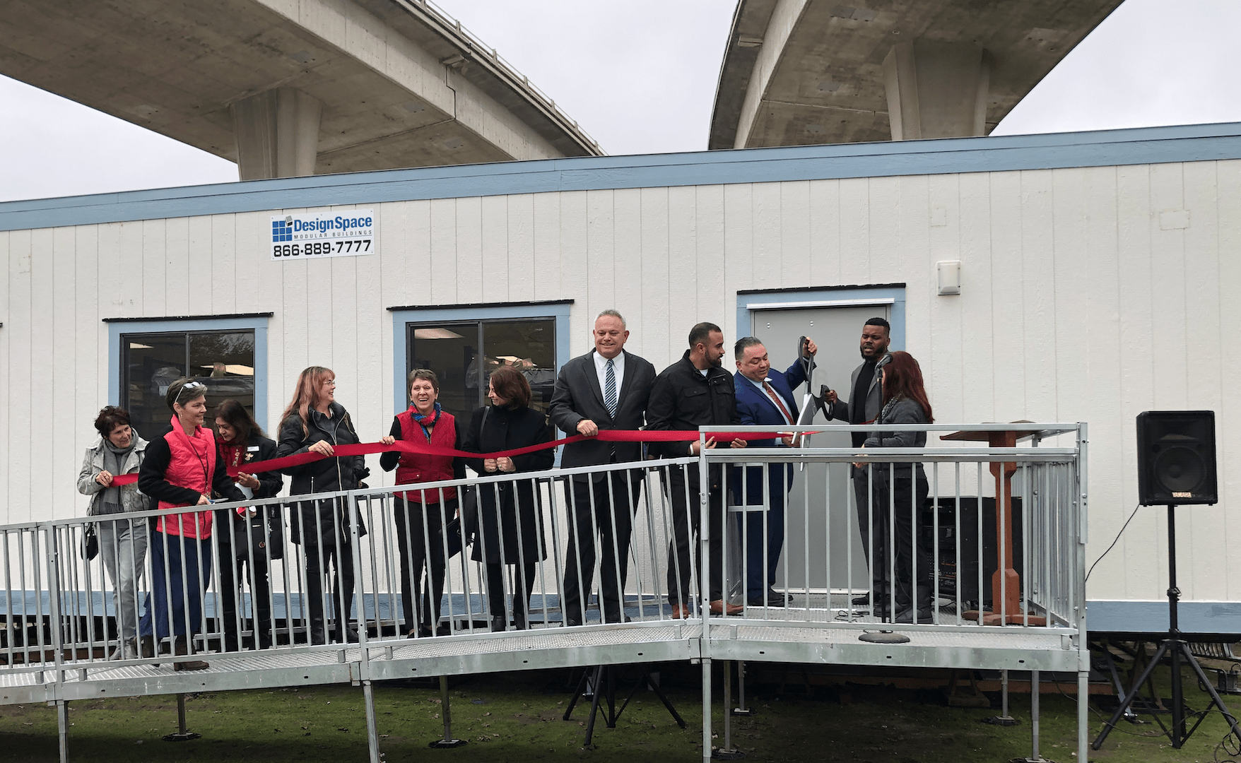 Ribbon cutting ceremony for opening of temporary structure for Stockton Shelter for the Homeless